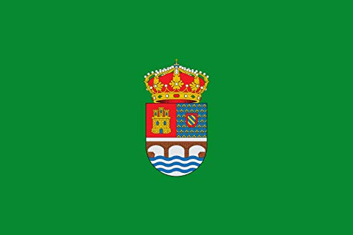 magFlags Bandera Large Rectangular de Proporciones 2 3, de Color Verde cargada al Centro del Escudo Municipal   Bandera Paisaje   1.35m²   90x150cm