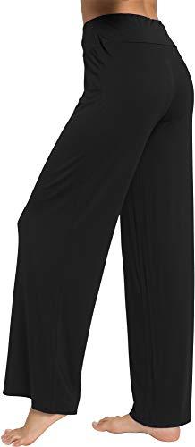 WiWi Women's Bamboo Lounge Wide Leg Pants Stretchy Casual Bottoms Soft Pajama Pant Plus Size Sleepwear S-4X, Black, X-Large
