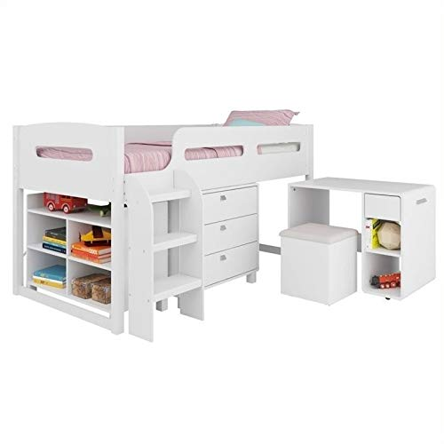 Pemberly Row 5-Piece All-in-One Single Twin Loft Bed in Snow White