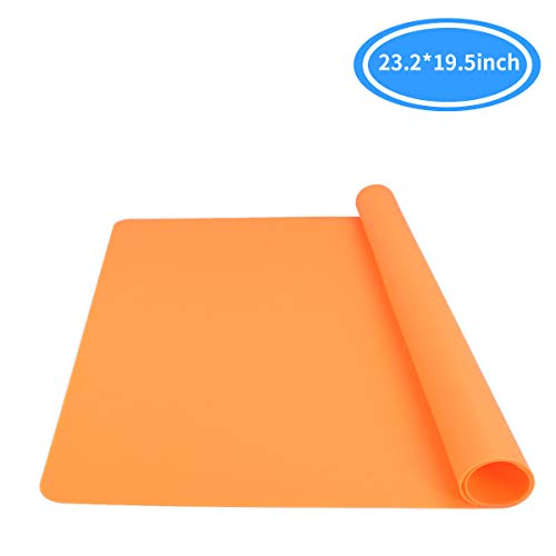 """Mlife Extra Large 23.2"""" x 19.5"""" Silicone Sheet for Craft - Jewelry Casting Molds Mat, Epoxy Resin Painting Pad, Premium Silicone Mat, Nonstick Nonslip Heat-Resistant Durable, Orange"""