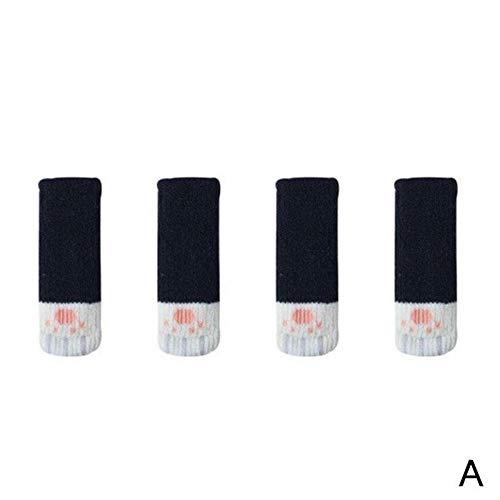 JAP768 4 unids Lindo Gato Pata Mesa Calcetines Calcetines Silla Cubiertas de piernas Protectores de Piso Calcetines de Punto Antideslizantes para Muebles Protectores de Piso de Madera (Color : A)