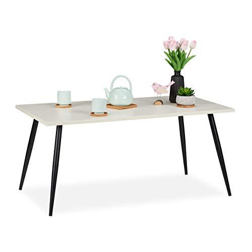 Relaxdays salontafel, retro look, legplank in de woonkamer, laag & rechthoekig, salontafel, h x b x d: 45 x 100 x 55 cm, wit, PB (particle board), metaal
