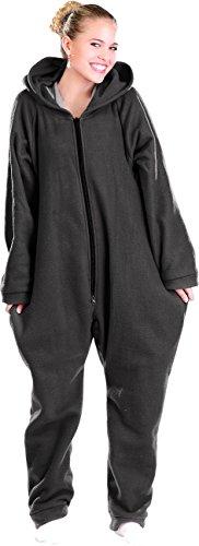 PEARL basic Jumpsuit Schlafanzug: Jumpsuit aus flauschigem Fleece, schwarz, Größe L (Flausch Jumpsuit)