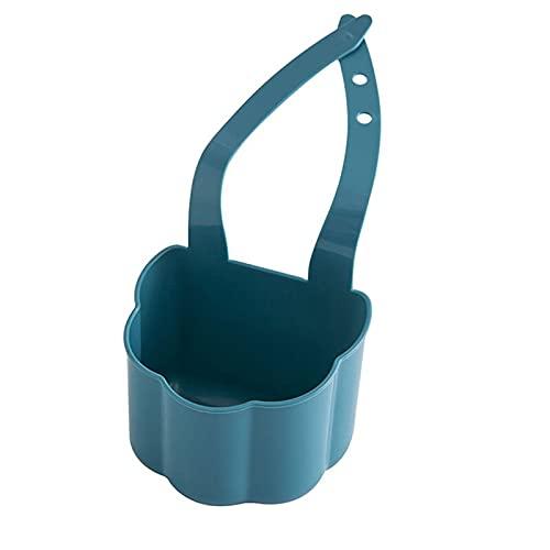 XiaoYing Canasta de drenaje creativa para fregadero de cocina, escurridor, esponja y jabón y residuos de plástico para colgar (color: azul, tamaño: mediano)
