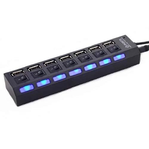 7 Puertos Adaptador USB 2.0 Hub De Interfaz Múltiple Luz Indicadora De Interruptor Independiente Negro