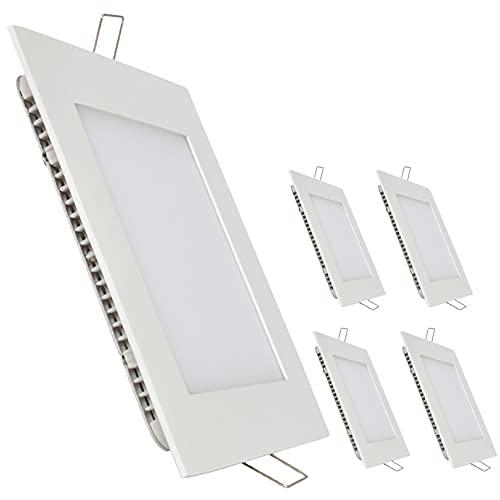 Pack 5x Panel LED Cuadrado 20w. Color Blanco Frío (6500K). 1800 lumenes. Driver incluido.