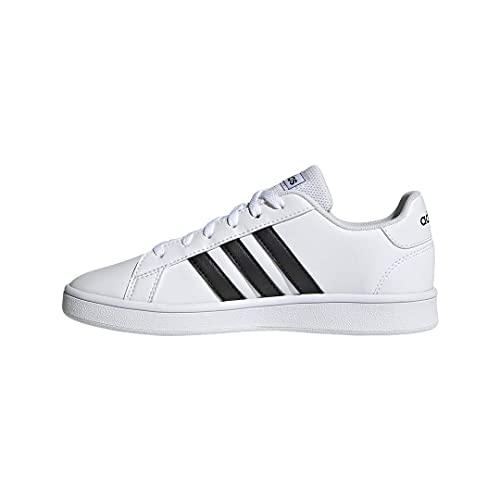 adidas unisex child Grand Court - Kids Sneaker, White/Black/White, 3.5 Big Kid US