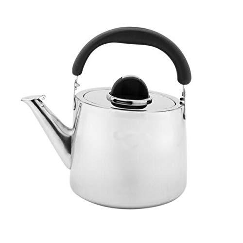 Kalmar Kettle,Teapot, Coffee Maker,Stainless Steel Kettle,4L/5L Whistling Teapot, Thickened,Large Capacity ,Best Gift,gas Cooker Universal Kettle,Silver a happy day (Color : Silver, Size : 4L)