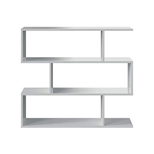 Habitdesign Estantería Baja Salon Comedor Athena, Libreria Oficina, Separador Ambientes, Color Blanco Brillo, Medidas: 110...