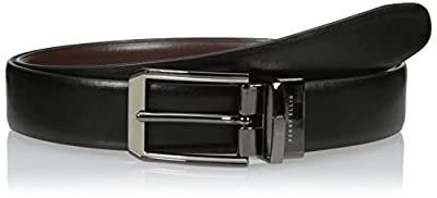 Perry Ellis Men's Portfolio Men's 2 - Tone Matte and Shine Buckle Reversible Belt, black/Brown, 36