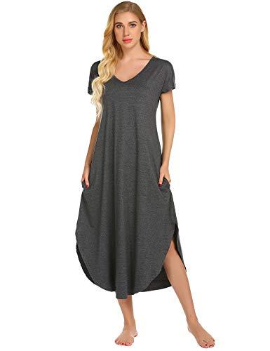 Ekouaer Women's Short Sleeve Sleepwear Soft Cotton Long Nightgown V Neck Loungewear with Pockets (Grey,M)