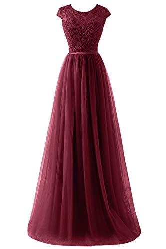Babyonlinedress® Hochwertig A-Linie Rundkragen Lang Prom Dress Spitze Tüll Abiballkleid Abendkleid Ballkleid Hochzeit Brautjungfernkleid Weinrot 44