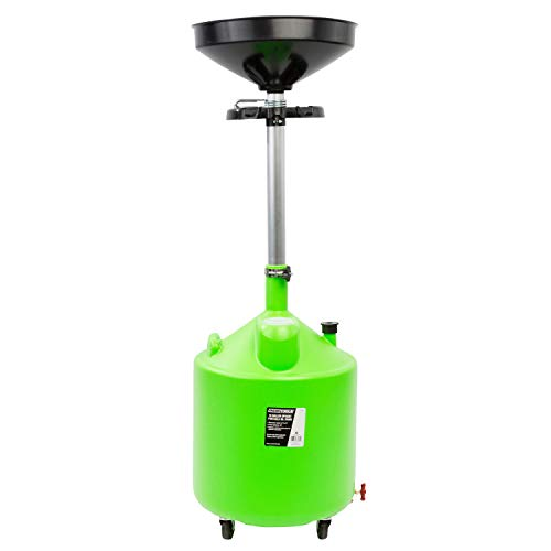 OEMTOOLS 87031 18 Gallon Upright Portable Oil Lift Drain with Oil Pan Funnel, for Changing Car and Truck Motor Oil, Adjustable Height, Oil Drain Container , green