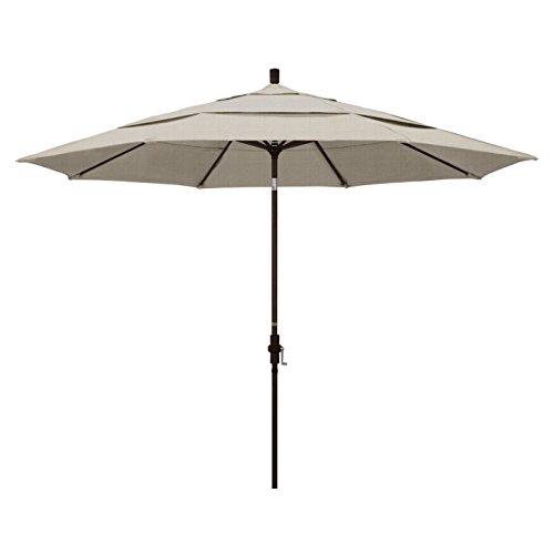 California Umbrella 11' Round Aluminum Market Umbrella, Crank Lift, Collar Tilt, Granite (GSCU118117-F77-DWV)