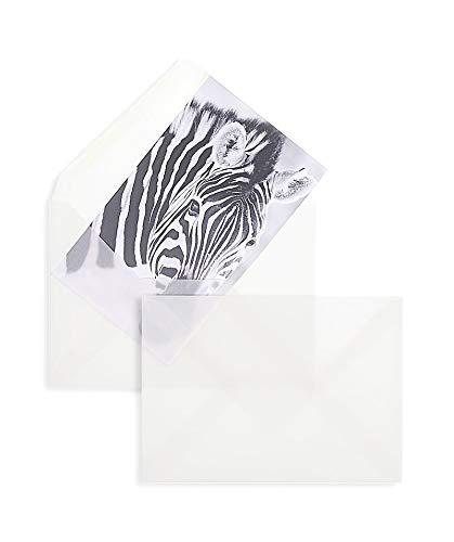 100 Stk - Transparente Briefumschläge DIN C6 - Weiß - Nasskleber - 11,4 x 16,2 cm - Briefumschlag für Glückwunschkarten, Weihnachtskarten, Karten