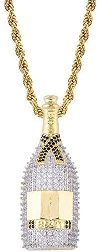 Mxdztu Co.,ltd Collar Cadena De Hip Hop Totalmente Helado Lab Diamante Botella De Vino Collar Colgante para Hombres Regalos con Encanto
