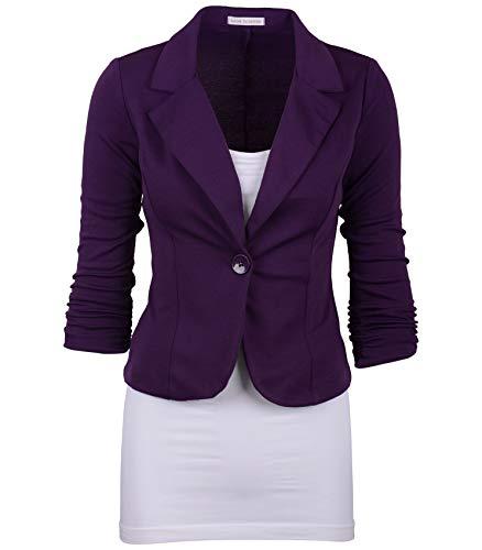 Auliné Collection Women's Casual Work Solid Color Knit Blazer Purple Large