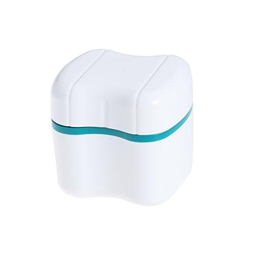 Zahnprothesen-Box Prothesendose Gebissdose Zahnspangendose mit Sieb (Grün)