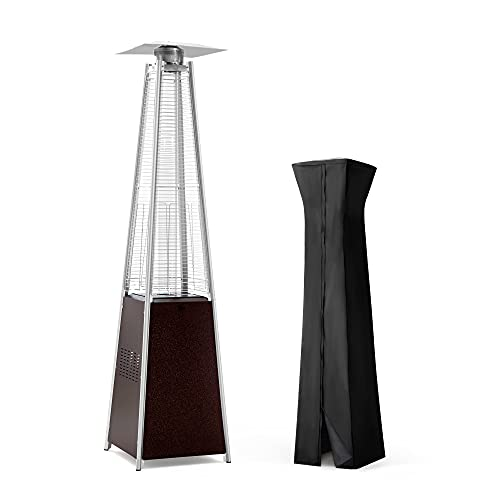 PAMAPIC Patio Heater, 42,000 BTU Pyramid Flame Outdoor Heater with Cover, Quartz Glass Tube Hammered Bronze Tower Propane Outdoor Heater with Wheels