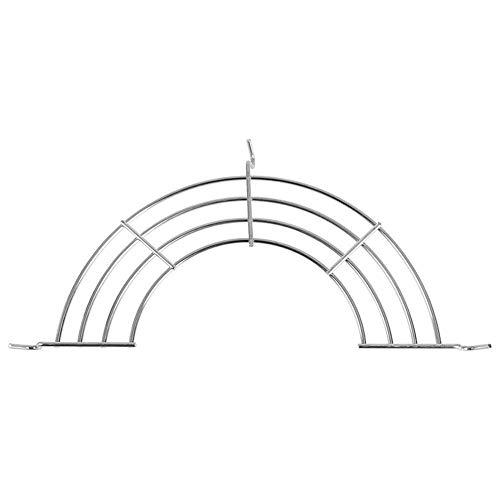 xingxing Soporte semicircular para filtro de aceite de freír de acero inoxidable, soporte para colgar ollas, utensilios de cocina, escurridor de vapor (color: plata, tamaño: 1 nivel)