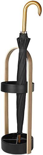 HEWEI Paraplu stand moderne grote paraplu en wandelstok stand met druppelbak ijzeren kleur + hout gebogen handvat rond 22 * 68cm (kleur: wit)