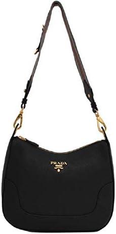 Prada Vitello Phenix Black Leather Nylon Web Striped Strap Crossbody Bag 1BC052 product image
