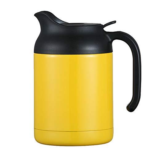 Pot isolé par double vide de l'acier inoxydable 1.2L, pot de café de thé/pot d'isolation, approprié aux dortoirs de maison/bureau/école-yellow