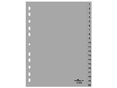 Durable 652210 Zahlenregister (A4 geprägte Taben 1-20, PP volldeckend) 20 Stück grau