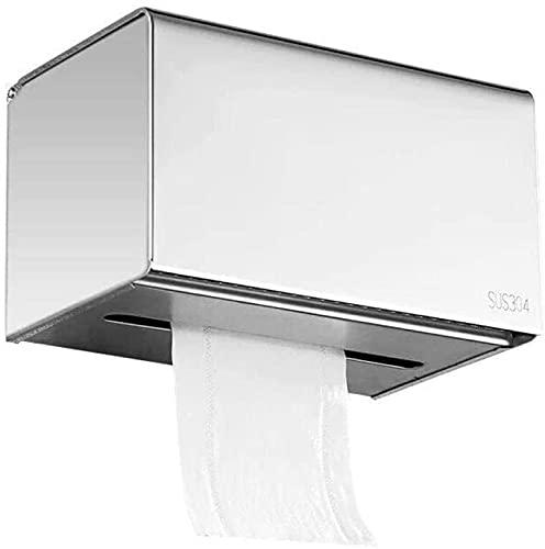 KMILE Toalla de Papel higiénico a Prueba de Agua Toalla de Papel Toalla Caja de Tejido Baño Bandeja de Acero Inoxidable
