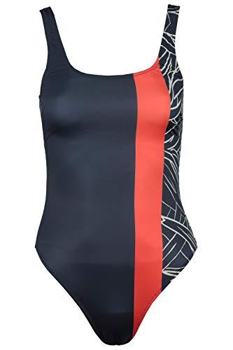 GINA LAURA Damen Badeanzug, Streifen/Muster, Vorderfutter Marine L 725572 75-L