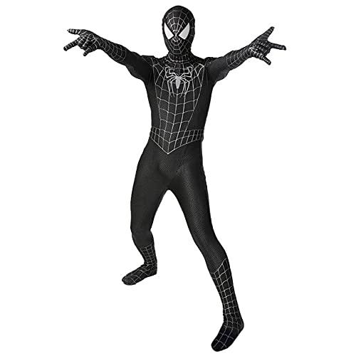 Xyh723 Venom Spiderman Medias Disfraces De Simbiosis para Niños Mono De Halloween para Adultos Disfraz De Cosplay Onesies Traje De Superhéroe Mascarada,Black-Kids/XL(145~155CM)