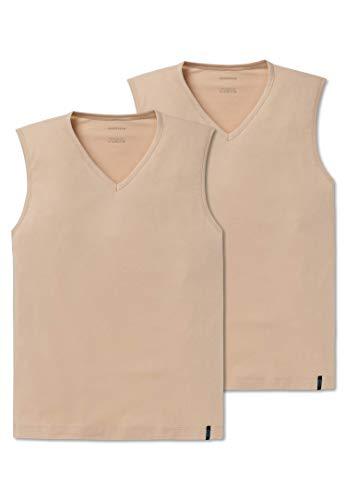 Schiesser Herren 95/5 Tank Top Unterhemd, Beige (Haut 407), Large (Herstellergröße: 006) (2er Pack)