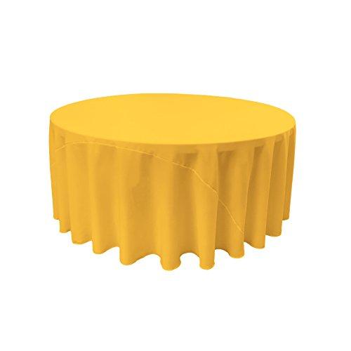LA Linen Polyester Poplin Round Tablecloth, 108-Inch, Dark Yellow, 108'