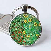 Klimt's Bauernhof Garten mit Sonnenblumen Schlüsselanhänger Klimt Art Schlüsselanhänger Sonnenblume Cabochon Gärtner Geschenk Glas Fashion Schlüsselanhänger Ring