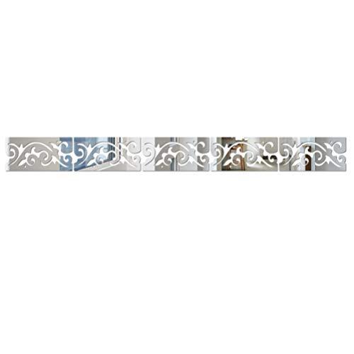IMIKEYA Etiqueta de Espejo de Pared calcomanías de Pared de Aerosol acrílico calcomanías de murales para Sala de Estar de la habitación del hogar (tamaño pequeño Plateado)