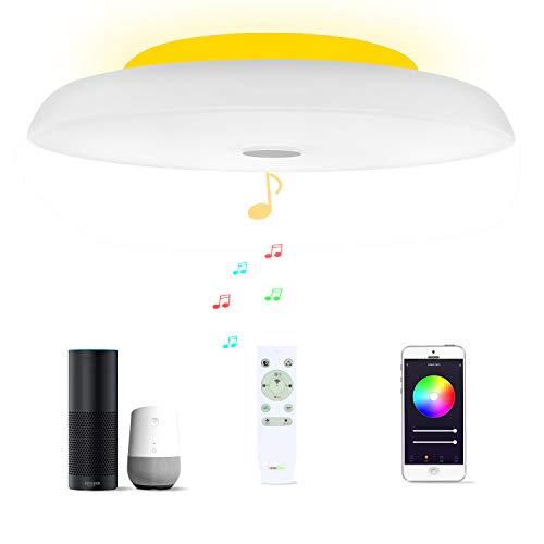 36W Φ40cm Plafón Led Lampara Compatible Con Amazon Alexa Google Assistant WIFI Lampara Techo Led Musica Con Bluetooth Altavoz y Mando y Regulable Cambia De Color Para Dormitorio Cocina Cuarto De Baño