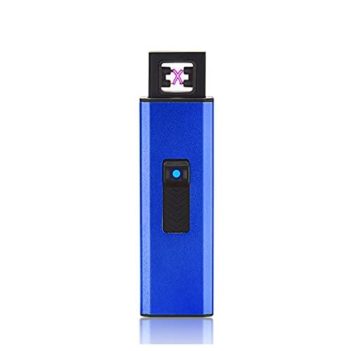 電子ライター USB 充電式ライター プッシュプルライター 2 in 1 LED懐中電灯 プラズマ ダブルアークライター 防風 軽量 薄型 应急照明 電熱 ライター 誕生日 記念日 プレゼント(ブルー)