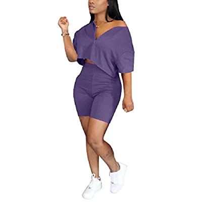 Amazon - 50% Off on omen's Casual Two Piece Outfits Zip Up Loose T Shirt Crop Tops Bodycon Shorts Sportwear