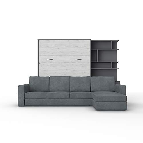 Schrankbett mit Sofa Wlappbett inklusive Ecksofa Gästezimmer Wohnzimmer Schlafzimmer 160x200 (Weiß/Weiß Glanz) (Grau Matt/Monaco Eiche)