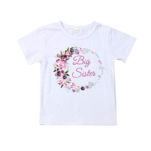 Vavshop Bebé niñas Hermana Grande/pequeña Traje de Mameluco de niña bebé a Juego Hermana Mayor Camisa Tops Ropa (Camiseta, 2-3 Y)