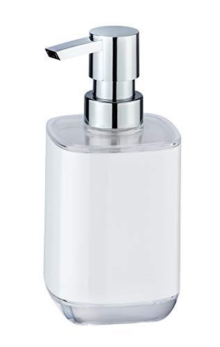 WENKO 23598100 Seifenspender Masone, Flüssigseifen-Spender, Spülmittel-Spender Fassungsvermögen: 0,33 l, Polystyrol, 8 x 16,5 x 7,5 cm, weiß