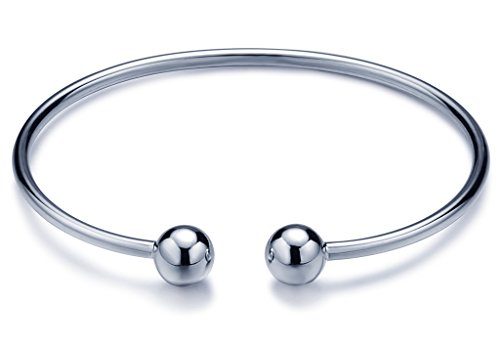 Infinite U Fashion Double Balls Beads 925 Sterling Silver Girls Charm Bracelet Adjustable Cuff Bangle, Silver