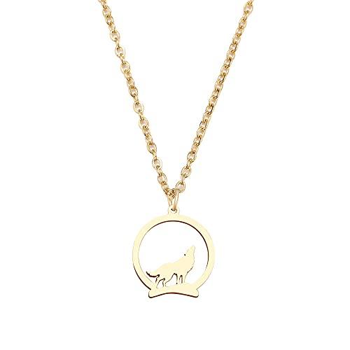 YQMR Colgante Collar para Mujer,Collar con Colgante Elegante para Mujer Grabado Lobo Dorado Animal Colgante Redondo Joyería De Moda Regalo para Cumpleaños Amistad Familia