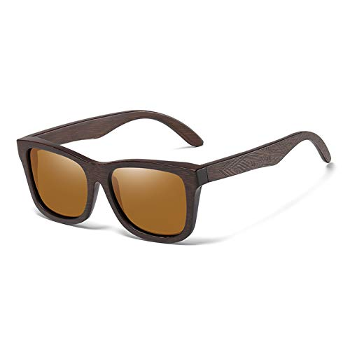 JCNVT Diseño Moderno Gafas de Sol de Madera de bambú Natural Espejo polarizado Hecho a Mano Lentes de Revestimiento de Espejo Gafas para Conducir Viajes (Lenses Color : Brown)