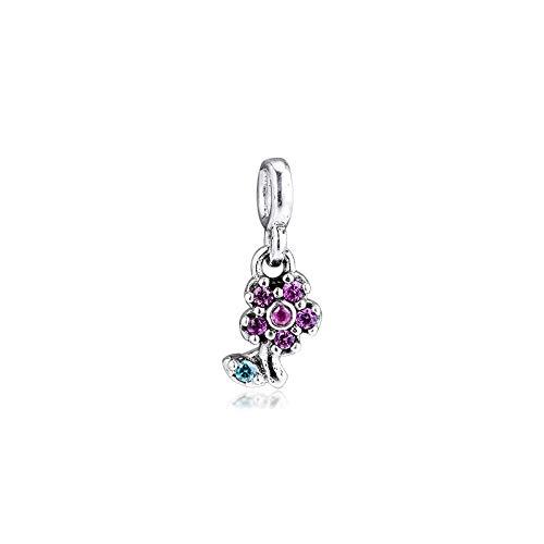 LILANG Pulsera de joyería Pandora 925 encantos de Flores Bonitas Naturales Original Me Cuentas de Plata esterlina Que Hacen Cuentas Berloque Mujeres Regalos de Bricolaje