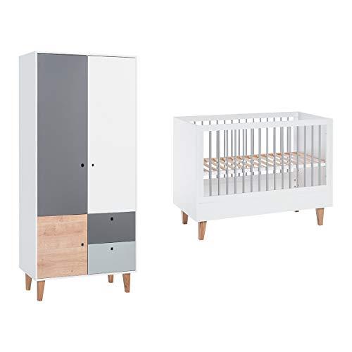 Lit bébé 60x120 et Armoire 2 portes Concept - Bois