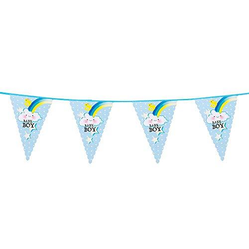 Boland 53201 - Wimpelkette Baby Boy, Länge 6 m, Papier, Girlande, Hängedekoration, Junge, Baby Party, Motto Party, Garten Party, Kindergeburtstag, Karneval