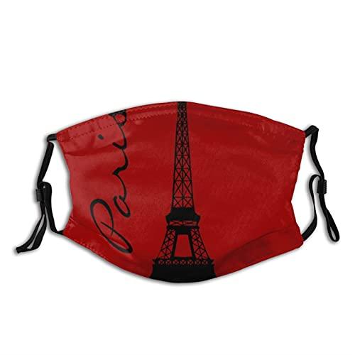 Cara de tela unisex Ma-sk Torre Eiffel París cara roja co-ver con bucle de oreja ajustable, lavable, cubierta bucal para exteriores, deportes, ir de compras