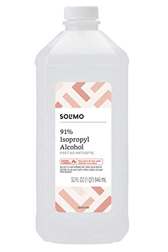 Amazon Brand - Solimo 91% Isopropyl Alcohol First Aid Antiseptic, 32 Fl Oz (Pack of 1)