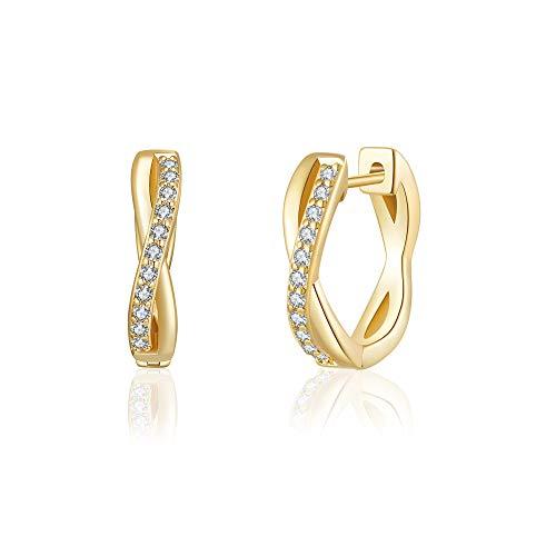 JSJOY Small Hoop Earrings for Women 14k Gold Cubic Zirconia Hoops Hypoallergenic Lightweight Twist Huggie Gifts for Sister 13mm
